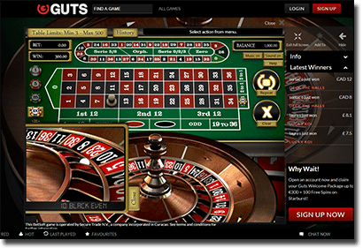 Play Zoom Online Roulette at Guts Casino