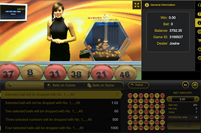 Live dealer lottery by Ezugi