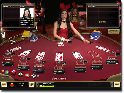Play Blackjack with Playboy Bunny live dealers by Microgaming